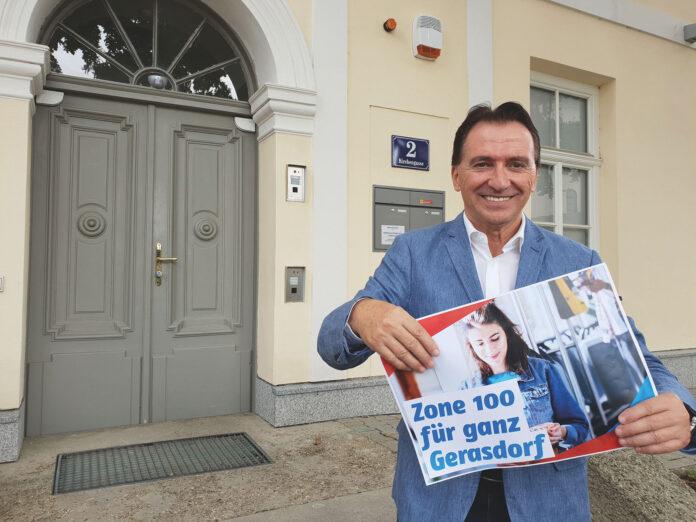 Bürgermeister Vojta kämpft für Zone 100 in ganz Gerasdorf. Foto: GGK.