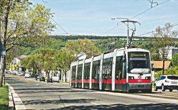 Linie 27: Pragerstraße Fahrtrichtung Hausfeldstraße. Fotomontage. Bild: Wiener Linien/Helmer.