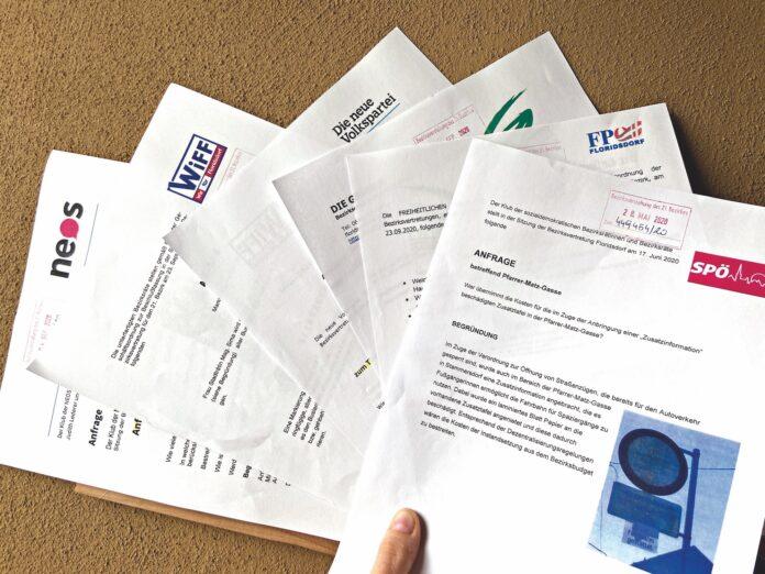 Anfragen und Anträge der sechs in der BV vertretenen Parteien. Bild: DFZ.