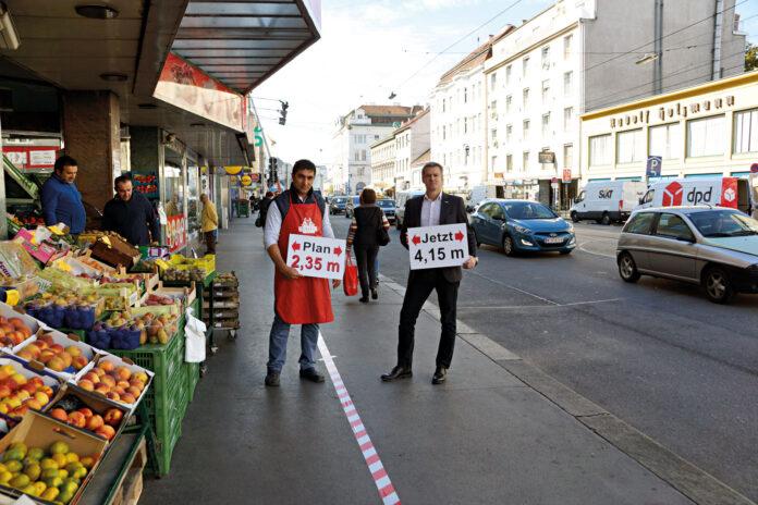ImBereich des Lebensmittelgeschäfts Sultan würde der Gehsteig neben dem Radweg nahezu nur noch halb so breit sein:Statt wie derzeit 4,15 Meter nur noch 2,35 Meter. Bild: DFZ.