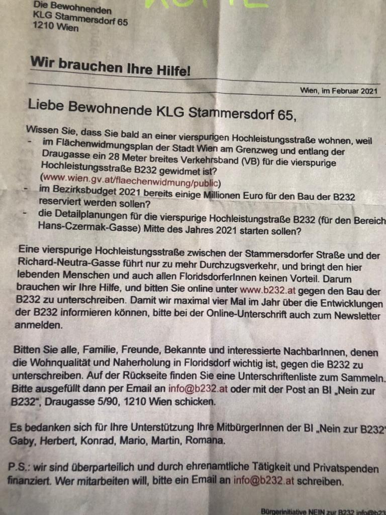 "Flugblatt der Initiative 'Nein zur B232""."