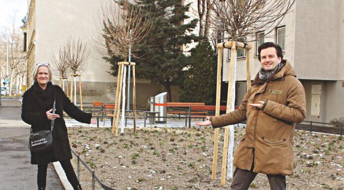 Sonja Schmidt und Bernhard Herzog bei der noch winterlichen Grätzloase in der Freytaggasse. Foto: Herzog.