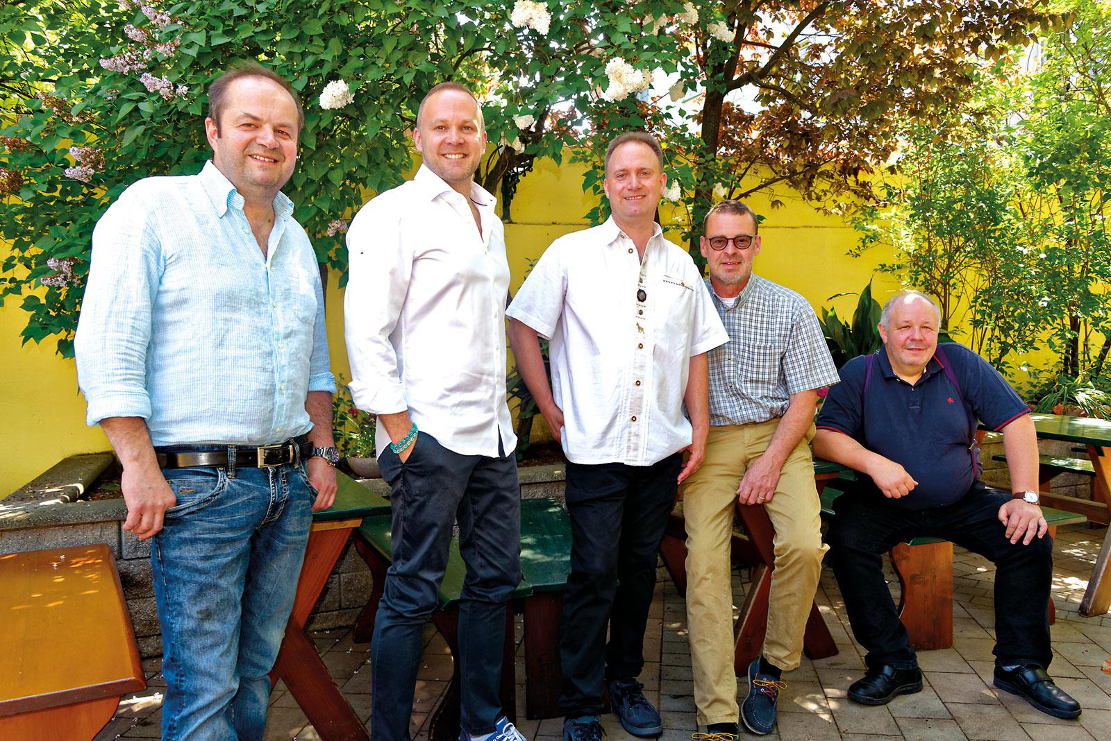 J5-Winzer: K. Lentner, Christ, R. Lentner, Fuchs & Bernreiter. Bild: Foto: ICW-J5 / IWECE.