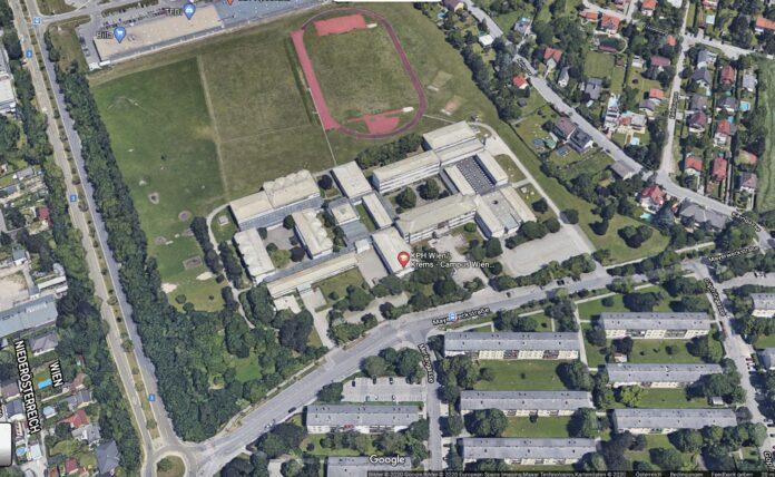 KPH-Gelände in Strebersdorf: Link unten Kreisverkehr Prager Straße & Mayerweckstraße. Links oben: C21. Bilder 2020, Google Bilder. 2020 Eurpean Space IMaging Maxar Technolgies.