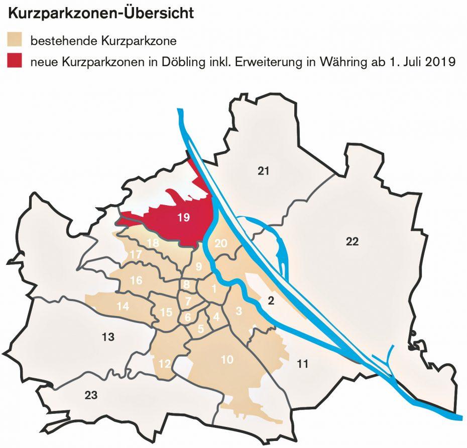 Die Grafik des ÖAMTC zeigt die  derzeitigen flächendeckenden  Kurzparkzonen inWien. Grafik: Kner Barbara (Medien-IZ V).