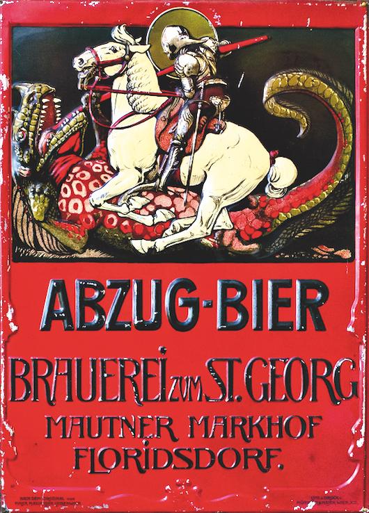 Altes Werbeplakat. Fotos: Familienarchiv Mautner Markhof (3), Bezirksmuseum (2).
