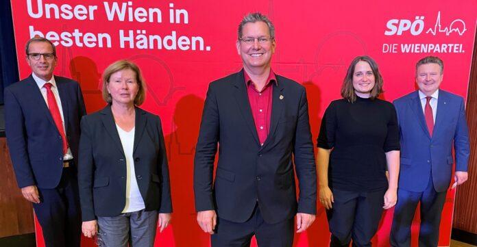 Meidlinger, Fitzbauer, Papai, Hanke, Ludwig - Große Zustimmung für den neuen SPÖ-Vorstand. Bild: SPÖ Floridsdorf.