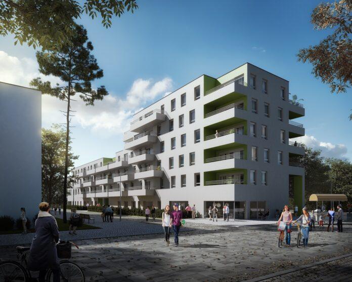 Die neuen Gemeindewohnungen in Neu Leopoldau sind besonders auf die Wohnbedürfnisse junger Menschen zugeschnitten. Die Vergabe der Wohnungen startet am kommenden Montag, den 29.3.2021. Übergabe und Bezug sollen noch heuer erfolgen. Rendering: © Superblock