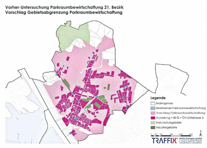 Die Studie empfiehlt die rosa & pinken Gebiete als Pickerlbereich. Fraik: Stadt Wien & Traffix.