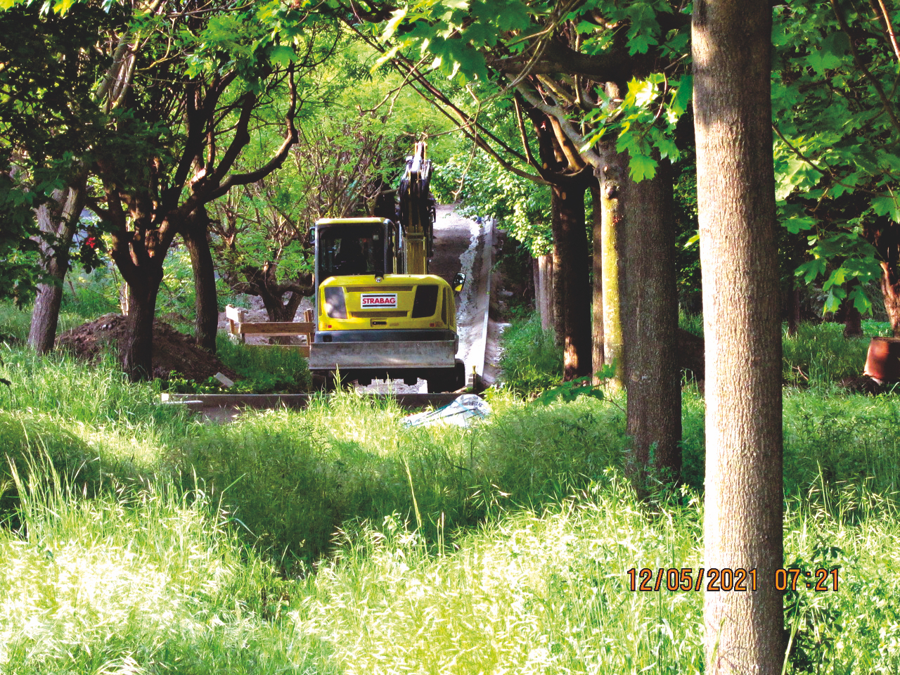 In  einem Wäldchen wird ein  neuer Weg gebaut. Bild: Privat