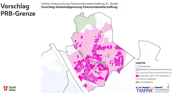 In beiden pinken/rosa Bereichen soll das Parkpickerl laut Studiienempfehlung eingeführt werden.. Bild: Stadt Wien - Stadtentwicklung und Stadtplanung, Traffix.