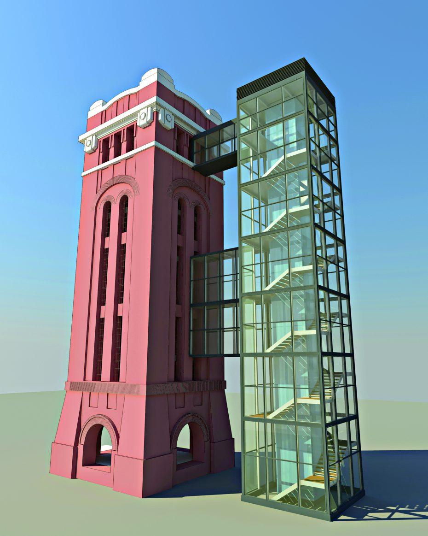 Der denkmalgeschützte Wasserturm. Nach Fertigstellung des gläsernen Zubaus, der Treppenhaus und Lift  beinhalten wird (Entwurf). Renderings: TLH 12 Immo (2).