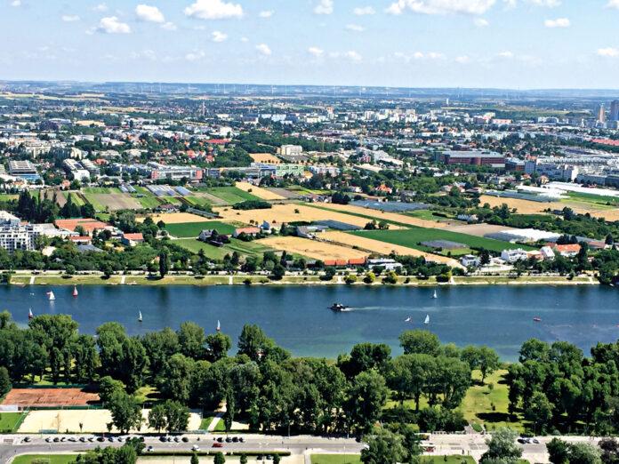 Das Donaufeld vom Donauturm aus gesehen. Bild: DFZ.