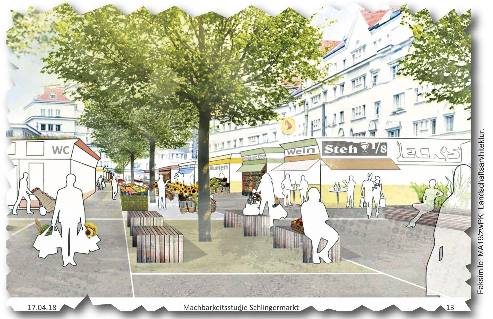 Entwurf für einen Neuen Schlingermarkt ohne mittlere Marktreihe. . Bild: ZwoPK.