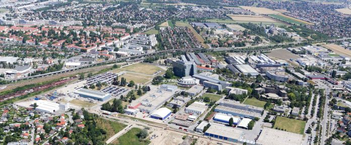 Luftbild vom Betriebsgegebiet bei der Siemensstraße Bild: Stadt Wien/Christian Fürthner.