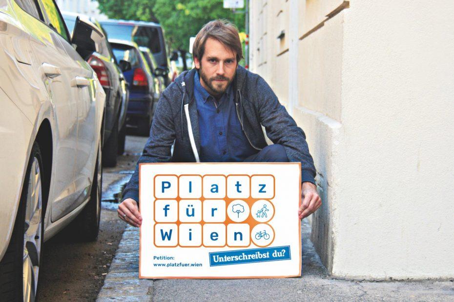 Präsentation der Initiative Platz für Wien. Mehr Platz zum gemütlichen Gehen & sicheren Radfahren wird gefordert - auch in Floridsdorf. Bild: Platz für Wien.